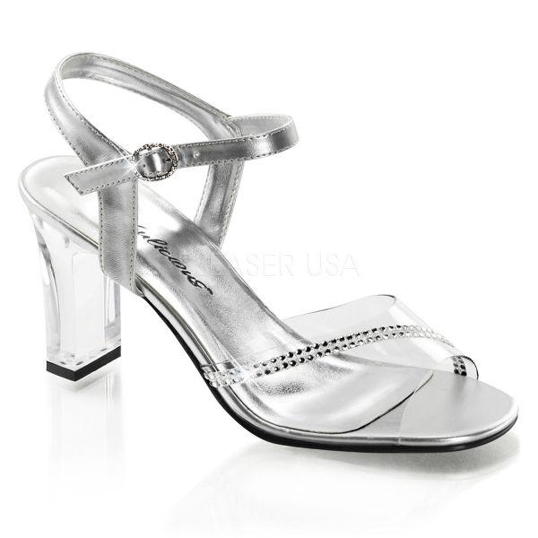 ROMANCE-308R     Klassische Sandalette mit Strassverzierung und silberfarbenen Riemchen